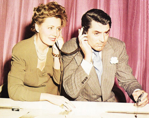 """Perfect match - Irene Dunne and Cary Grant made three popular films together. Here in 1941, they perform a radio adaptation of one """"Penny Serenade"""", to benefit the Motion Picture Relief Fund"""