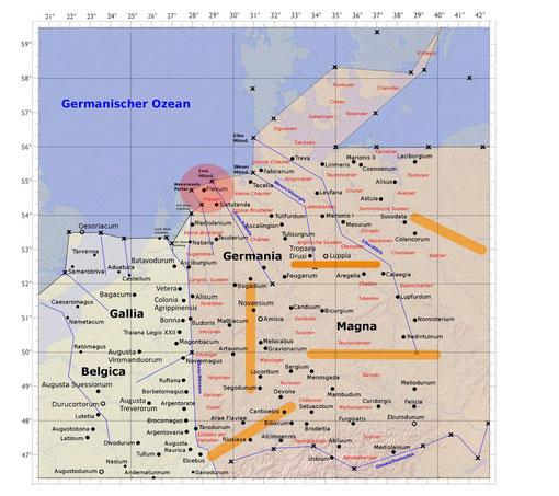 Karte gezeichnet nach Daten der 3. und 4. Europakarte der Geographie von Claudius Ptolemaios. (Nach Daten aus Stückelberger/Grasshoff)