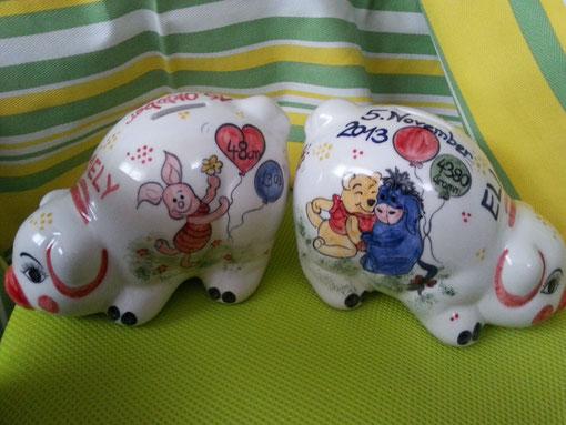Winni Puh Sparschwein für jeden Anlass, entweder zur Taufe, Geburt oder Geburtstag