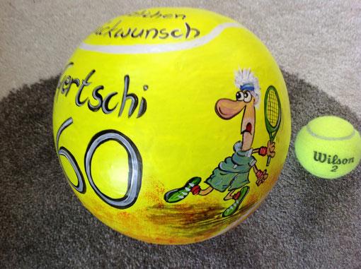 großer Tennisball, 20 cm, Sparer, zum 60.Geburtstag,