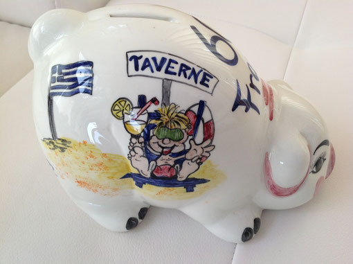 handbemaltes Keramiksparschwein zum runden Geburtstag