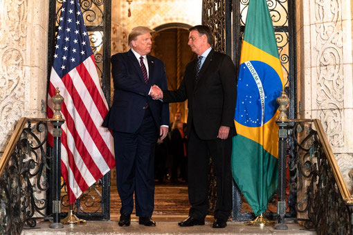 Donald Trump and Jair Bolsonaro during the Brazilian president's last official visit to the US in March 2020. Source: www.flickr.com/photos/whitehouse/49646443832/