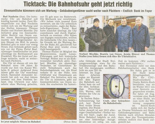 Bad Nauheim: Die Bahnhofsuhr geht jetzt richtig, Artikel und Fotos: Petra Ihm-Fahle, WZ, 28.12.2012