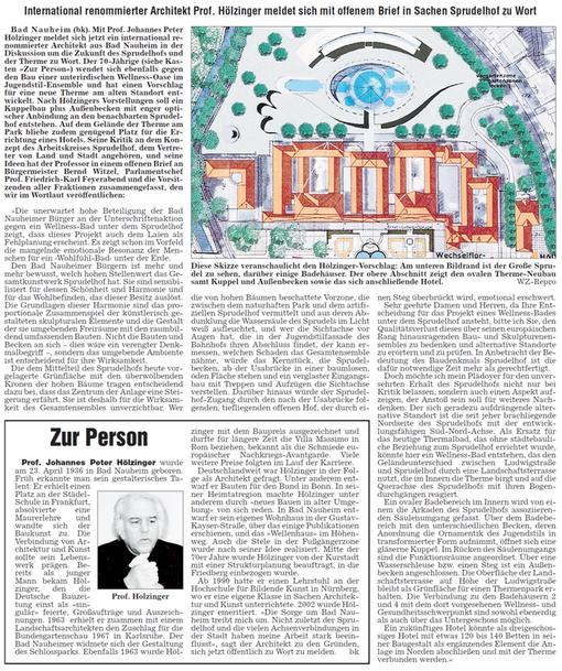 Vorschlag Thermalbad / Hotel auf dem Sprudelhofareal, Text: Bernd Klühs,  WZ: 23.09.2006