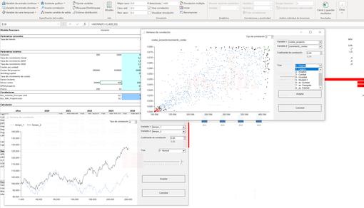 MC FLO - Definir correlaciones MC FLO Monte Carlo simulación Excel