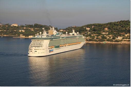 Bei der Rückfahrt erstrahlt das Kreuzfahrtschiff in der Abendsonne.