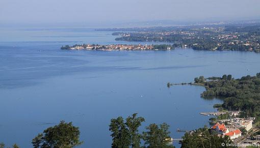 Blick hinunter auf den Bodensee nach Lindau -