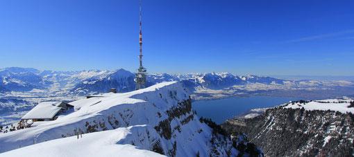 Wir fahren nochmals aufs Niederhorn und geniessen vom Gipfel den wunderbaren Ausblick Richtung Thunersee und Thun.