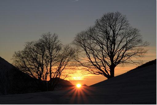 um den tollen Sonnenuntergang zu fotografieren.