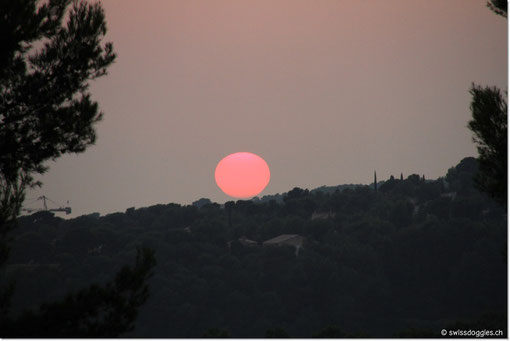 Leider kommen wir in Toulon in einen Stau und so sehen wir diesen Sonnenuntergang nur von der Autobahn aus...