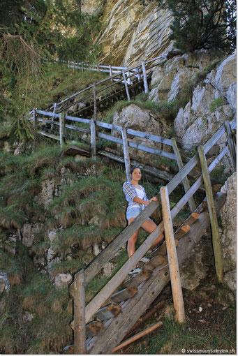 denn über diese steilen Leitern