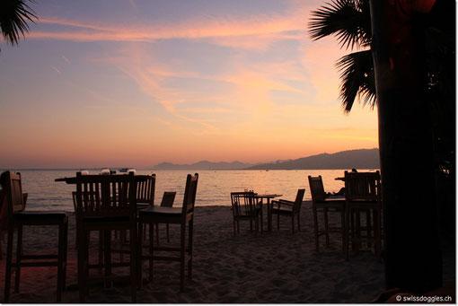 Wir haben einen schönen Platz direkt am Strand und