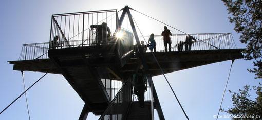 Aussichtsplattform Il Spir, mit Blick hinunter in die