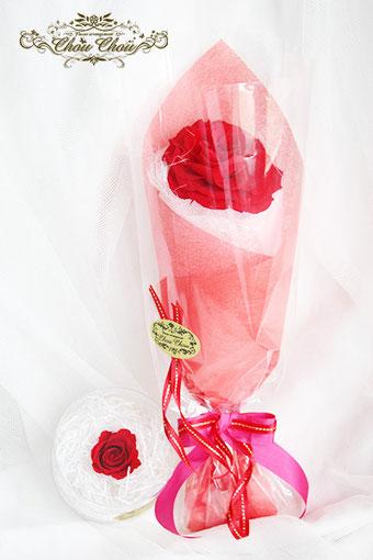 プロポーズ 赤薔薇 一輪 フラワーリング  ミラコスタ プロポーズリング 配達 オーダーフラワー シュシュ 舞浜花屋