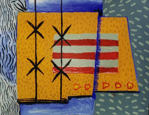 Pavé peaux rouges.1999. gouache sur papier. 9,5X7,5 cm.