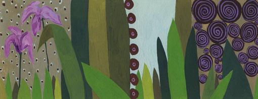 Chasse à l'escargot.2005. Gouache sur papier.25X9,5 cm.