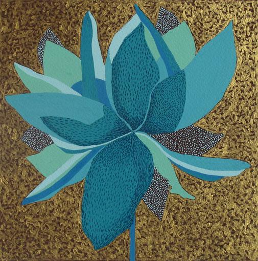 Fleur de Lotus 09. Gouache et acrylique sur papier. 20x20 cm. 2012. Collection privée.