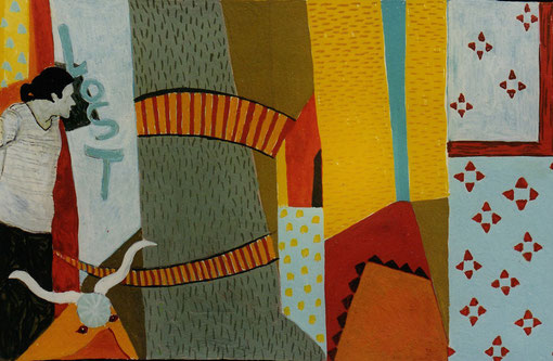 Couloir espagnol.1999. Gouache sur papier.16X19 cm.