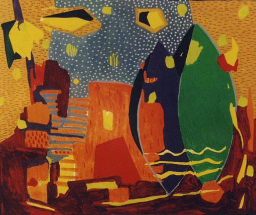Rêve de juin.1999. Gouache sur papier.13,5X11 cm.Collection privée.
