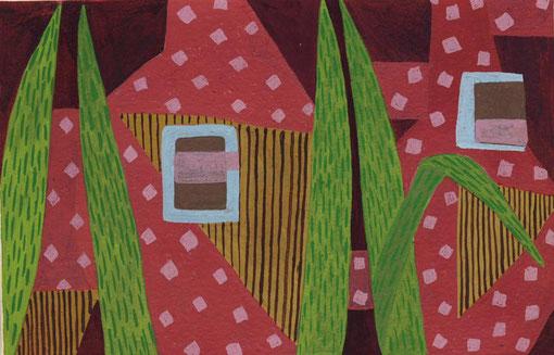 Balcon rose.2005.Gouache sur papier. 16X15 cm.
