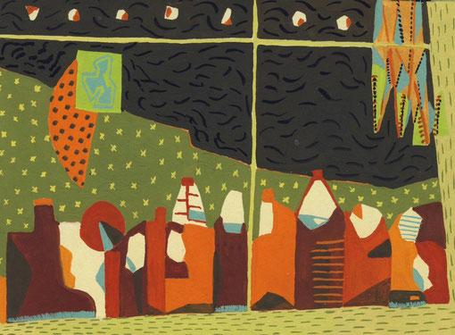Fenêtre d'atelier épicé.1999. Gouache sur papier. 14,5X10,5 cm.