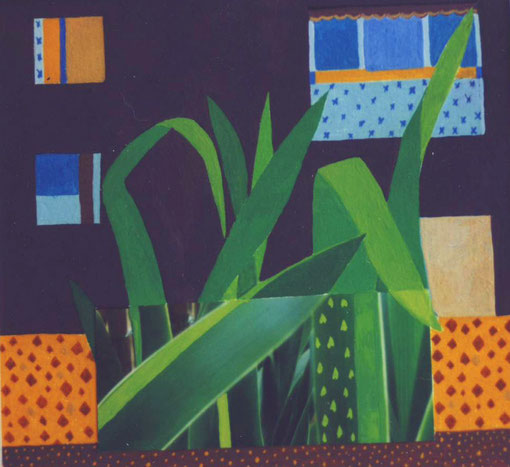 Balcon aux iris.2005. Gouache sur papier et collage. 18X22cm.Collection privée.