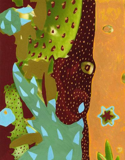 Cactus.2005. Gouache sur photo. 13X15 cm.