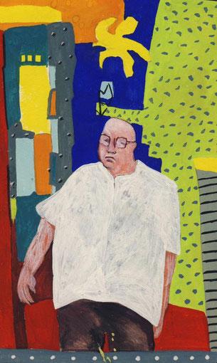 Le cadre dans le miroir.1999.Gouache sur papier. 13,5X8,5 cm.