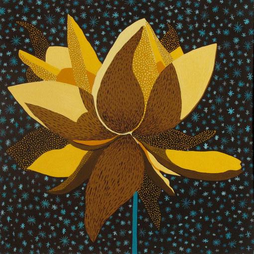 Fleur de Lotus 05.Gouache sur papier.30x30 cm.2012.