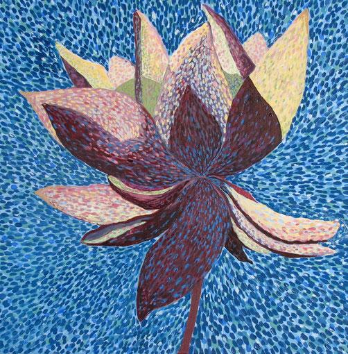 Fleur de Lotus 10. Huile sur toile. 60x60 cm.2012.