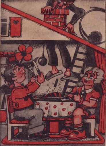 Verarschung einer gutgläubigen Kinderseele um 1948. Und heute? (Zeichnung Hans Meier)