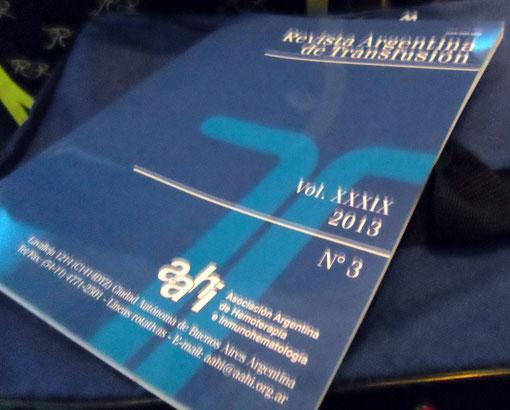 Revista Argentina de Transfusión, donde se encuentra publicado el Resumen del Trabajo.