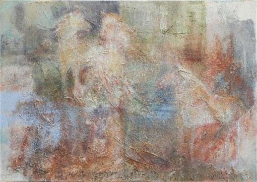 Camargue 4, 2007 _____ 70x100 Papier, Sand, Lava auf Baumwolle