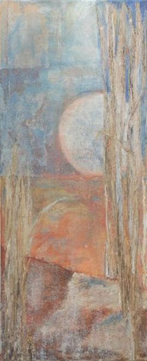 Cornwall, Ode an Morgan le Fay, 2002 _____ 120x50 Acral, Papier, Sand, Gräser, Lava auf Leinwand