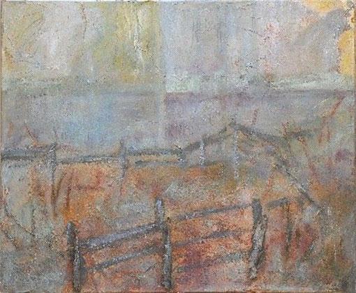 Camargue 3, 2007 _____ 70x85 Acryl, Sand, Papier, Rinde auf Baumwolle