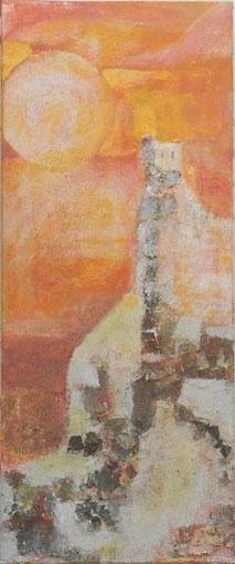 Montségur, Ode an die letzten Katharer, 2002 _____ 120x50 Acryl, Papier, Rinde, Sand auf Baumwolle