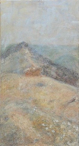 Der Erde so nah, dem Himmel so fern-Mont Ventu, 2006 _____  120x65 Acryl, Sand, Papier, Lava auf Baumwolle