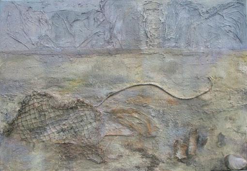 Odysseus hat Kalypso verlassen, 11/2007 _____ 70x100 Acryl, Papier, Sand, Rinde, Marmor, Muschel, Fischernetz, Tau auf Leinwand