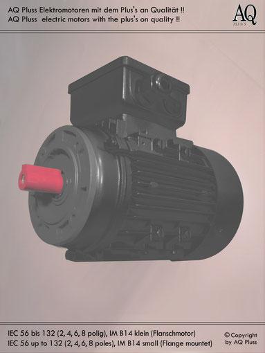 Elektromotor B14 kl Flanschmotor, Klarbild ohne Maßzahlen und Maßpfeile, IEC 56 bis 132 ( genormt nur bis IEC 112 )