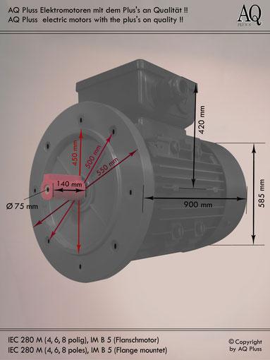 Elektromotor B5 Flanschmotor, IEC 280 M ( 4,6 und 8 polige ) diese Baugröße beinhaltet mehrere Leistungen und Drehzahlen.