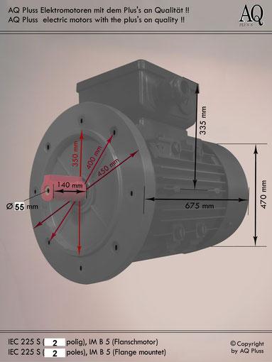 Elektromotor B5 Flanschmotor, IEC 225 S ( nur 2 polige) diese Baugröße beinhaltet mehrere Leistungen und Drehzahlen.