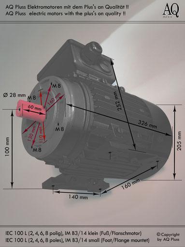Elektromotor B3/14 kl Fuß/Flansch-Motor, Klarbild ohne Maßpfeile und ohne Maßzahlen, IEC 100 L diese Baugröße beinhaltet mehrere Leistungen und Drehzahlen.