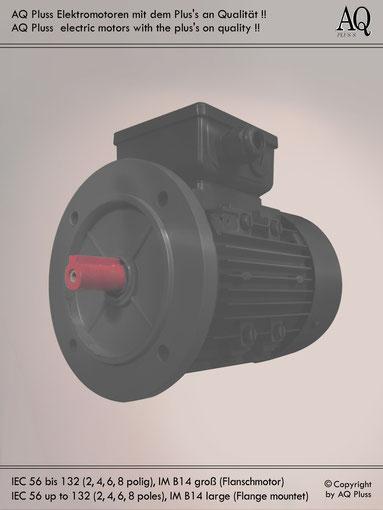 Elektromotor B14 gr Flanschmotor, Klarbild ohne Maßpfeile und ohne Maßzahlen, IEC 56 bis 132 ( genormt nur bis IEC 112M )