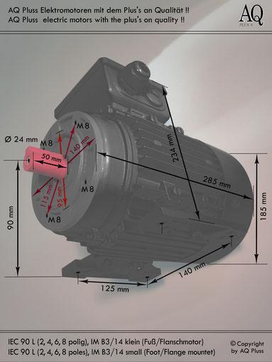 Elektromotor B3/14 kl Fuß/Flansch-Motor, Klarbild ohne Maßpfeile und ohne Maßzahlen, IEC 90 L diese Baugröße beinhaltet mehrere Leistungen und Drehzahlen.