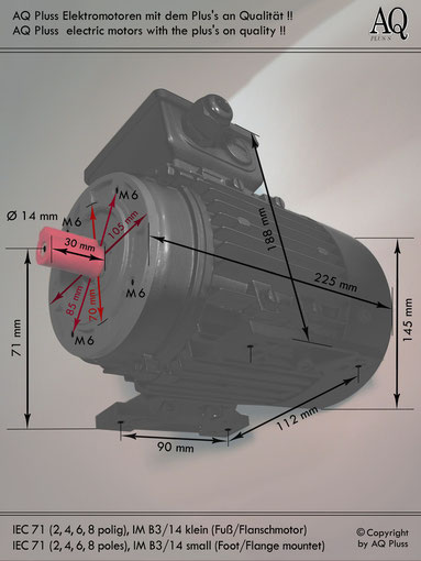 Elektromotor B3/14 kl Fuß/Flansch-Motor, Klarbild ohne Maßpfeile und ohne Maßzahlen, IEC 71 diese Baugröße beinhaltet mehrere Leistungen und Drehzahlen.