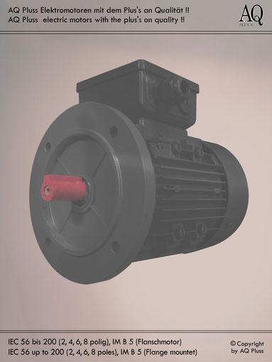 Elektromotor B5 Flanschmotor, Klarbild ohne Maßzahlen und Maßpfeile; IEC 56 bis 280 ( ab IEC 225 mit 8 Flanschbohrungen)