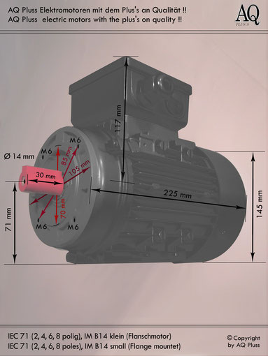 Elektromotor B14 kl Flanschmotor, IEC 71 diese Baugröße beinhaltet mehrere Leistungen und Drehzahlen.