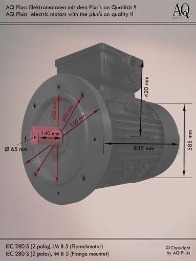 Elektromotor B5 Flanschmotor, IEC 280 S (nur 2 polige ) diese Baugröße beinhaltet mehrere Leistungen und Drehzahlen.