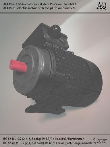Elektromotor B3/14 kl Fuß/Flansch-Motor, Klarbild ohne Maßpfeile und ohne Maßzahlen, IEC 56 bis IEC 132.