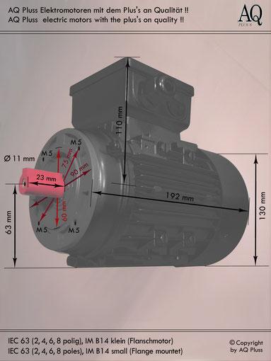 Elektromotor B14 kl Flanschmotor, IEC 63 diese Baugröße beinhaltet mehrere Leistungen und Drehzahlen.